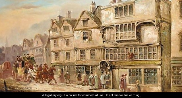 A coach and four outside the Cock Tavern, Bishopsgate Street - John Charles Maggs