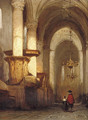 Interior of the St. Laurens- or Grote Kerk in Alkmaar - Johannes Bosboom
