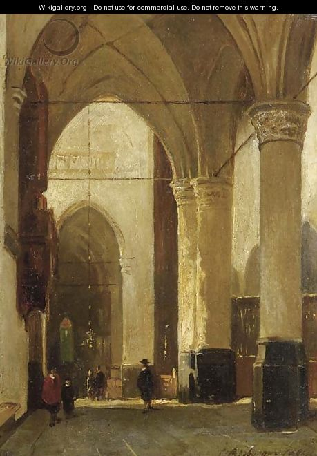 A sunlit church interior - Johannes Bosboom