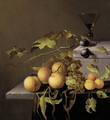 Peaches and grapes on the vine, with a goblet of wine on a casket, on a partially draped stone ledge - Johannes Borman