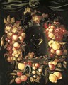 A roemer with walnuts and almonds in a niche surrounded by a garland of lemons - Johannes Borman