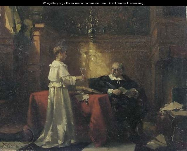 Offering a glass of wine - a study - Johannes Anthonie Balthasar Stroebel