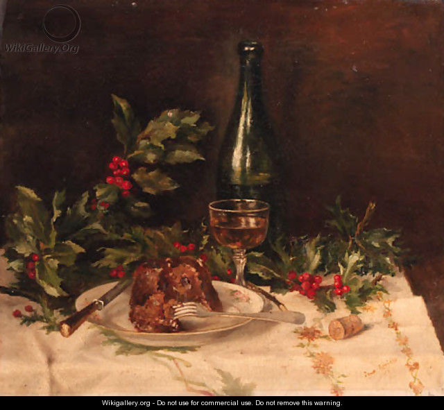 A still life with christmas-pudding, holly and wine - Johanna Helena Looisen