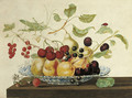 Still life with a grasshoper and a ladybug perched on branches arranged in a Delft bowl - Johanna Helena Herolt Graff