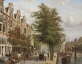 Daily activities along a canal in a Dutch city, Amsterdam - Johannes Franciscus Spohler