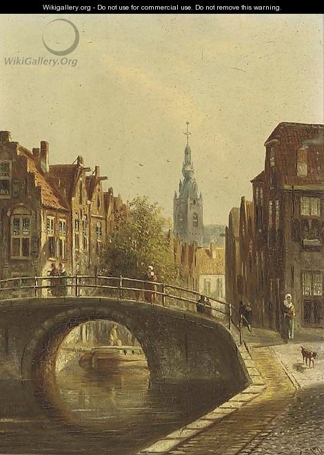 A Dutch town in summer - Johannes Franciscus Spohler