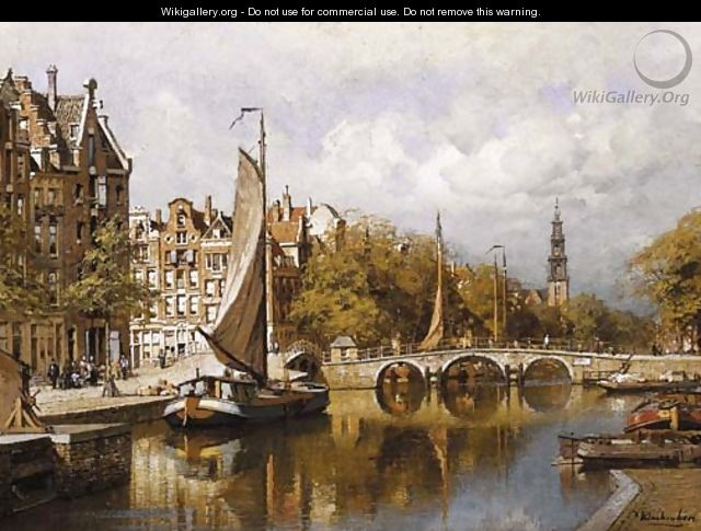 A view of the Prinsengracht, Amsterdam, with the Westertoren in the distance - Johannes Christiaan Karel Klinkenberg