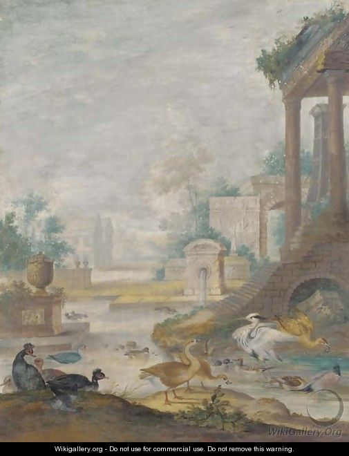 A classical landscape with wildfowl - Johannes Bronkhorst