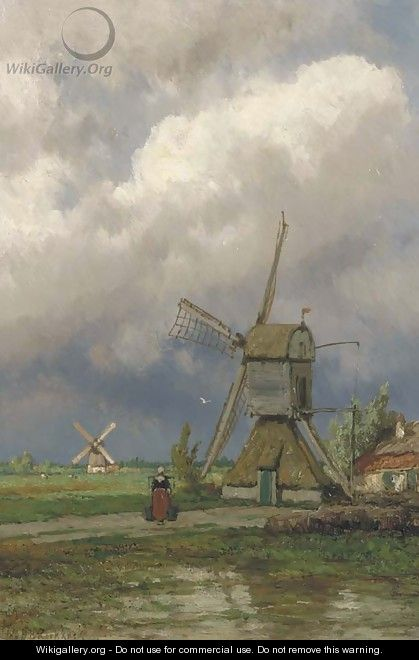 Windmills in a Dutch polder landscape - Johannes Hermanus Koekkoek