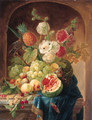 Melons, grapes, a lemon, peaches, plums, cherries, white currants, gooseberries, a bird's nest, a pineapple and hollyhocks on a draped marble ledge - Johannes Hendrick Fredriks