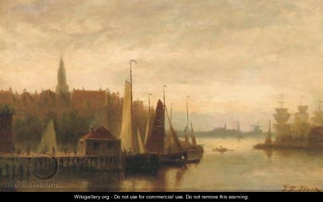 View of a harbour town at dusk - Johannes Frederik Hulk