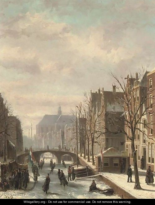 Skating on a Dutch canal - Johannes Frederik Hulk