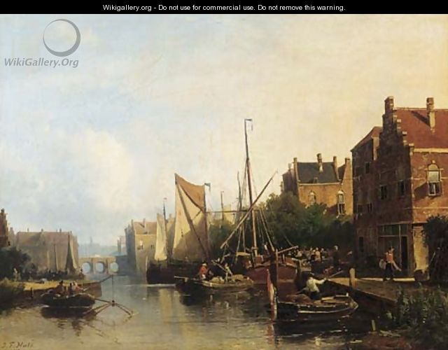 Harbour activities on a summer day - Johannes Frederik Hulk