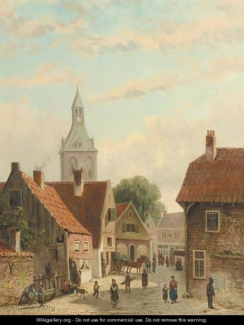 Busy street in a small town - Johannes Frederik Hulk