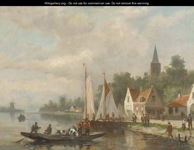 A cattle ferry on a river by a village - Johannes Frederik Hulk