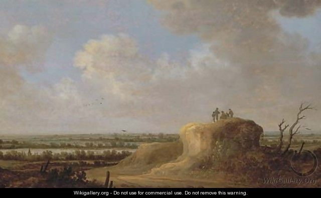 An extensive river landscape with peasants resting on a hill - Johannes Pietersz. Schoeff