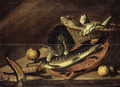 A cat eating from a haddock on an earthenware strainer on a table - Johannes Kuveenis I