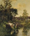 Watering cows by a forest - Johannes Karel Leurs