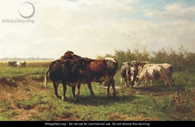 Les Paturages Hollandaises cattle in a meadow - Johannes-Hubertus-Leonardus de Haas