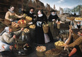 An Allegory of Autumn a fruit and vegetable stall above the Weinmarkt in Frankfurt am Main - Lucas van Valckenborch