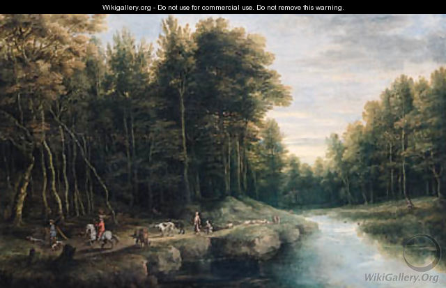Sportsmen, shepherds and peasants on a track by a brook in a forest, another sportsman shooting duck nearby - Lucas Van Uden