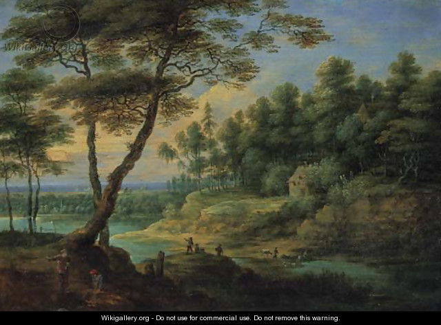 A wooded river landscape with peasants - Lucas Van Uden