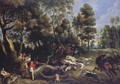 A boar hunt in a wooded landscape - Lucas Van Uden