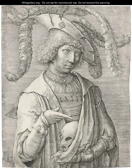Young Man with a Skull (Holl. 174 I) - Lucas Van Leyden