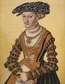 Portrait of a lady, three-quarter-length, in a green velvet and orange dress and a pearl-embroidered black hat - Lucas The Younger Cranach