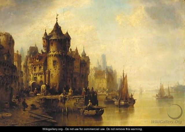 A town on a river - Ludwig Hermann