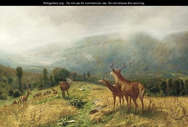 Stags in an extensive landscape - Ludwig Gustav Voltz