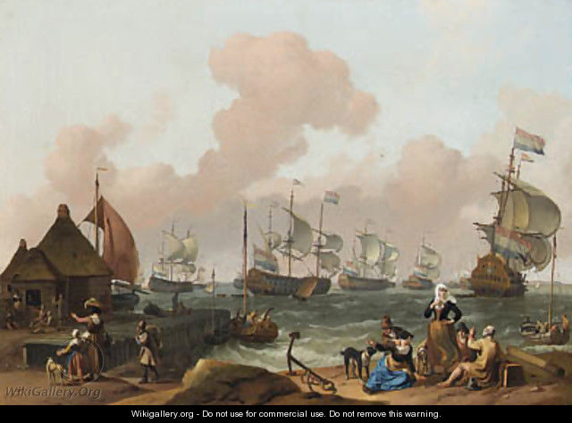 Coastal Scene with the Dutch Fleet under Way, peasants by a jetty in the foreground - Ludolf Backhuyzen