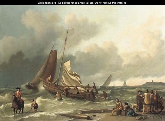 A Dutch fishing boat in a squall with an elegant man on horseback in the shallow tide, other fishing vessels beyond - Ludolf Backhuyzen