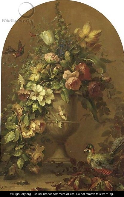 Flowers in a stoneware vase with tropical birds - Lucien Manceau