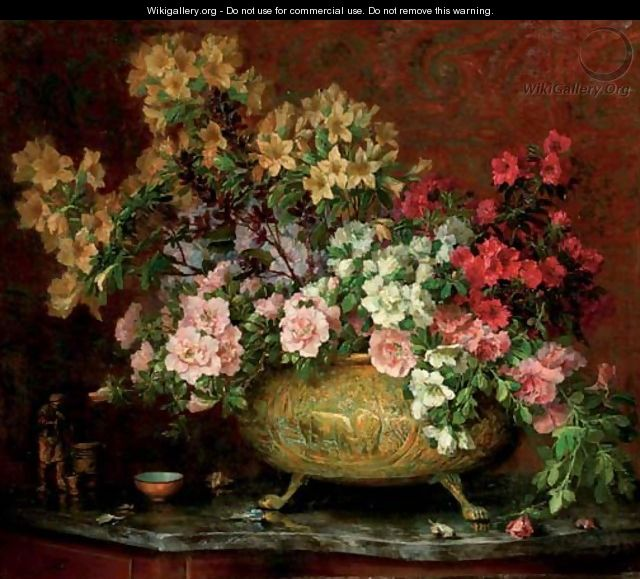 A bouquet in a copper pot - Lucien Manceau