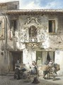 A Roman house with an edicola in a baroque surround - Ludwig Passini