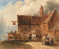 Figures and a waggon outside the Bell Inn - Luke Clennell