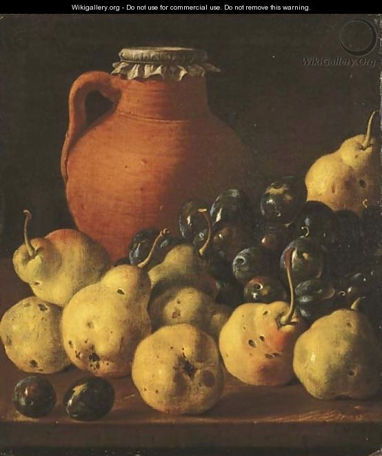 An earthenware pitcher with pears and plums on a wooden table ledge - Luis Eugenio Melendez