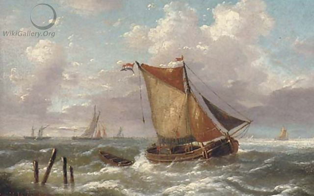 A Dutch smalschip running into the estuary - Louis Verboeckhoven