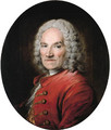 Portrait of the sculptor Jean-Louis Lemoyne (1665-1755), bust-length, in a red jacket - Louis Tocque
