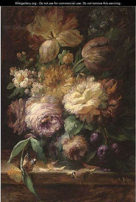Roses and tuplips in a vase, with plums, a bee and butterfly on a stone ledge - Louis Silas