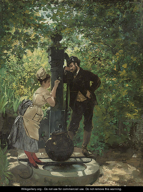 A rendezvous at the well - Louis Robert Carrier-Belleuse