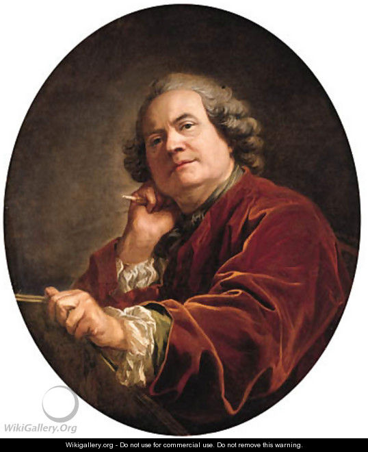 Portrait of the artist, half-length, in a red jacket - Louis Michel van Loo