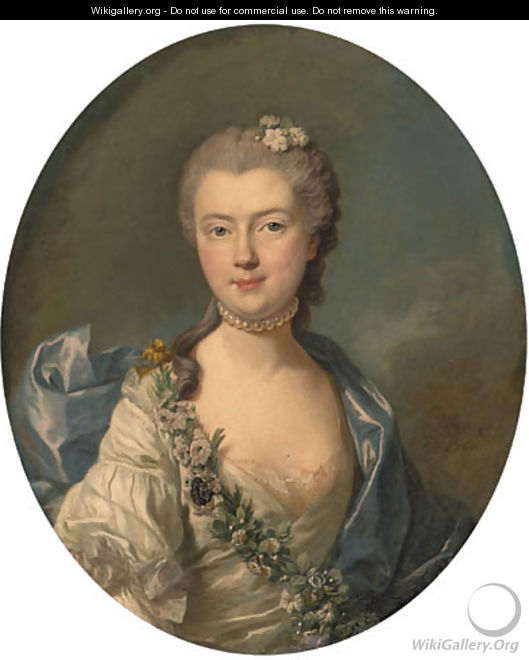 Portrait of Countess Jeanne de Chrion-Franois de Lamoignon, bust-length, in a white silk dress with a blue shawl and a garland of flowers - Louis Michel van Loo