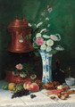 Summer flowers in a Chinese ceramic vase with fruit and pastries on a table - Louis-Michel Hadengue