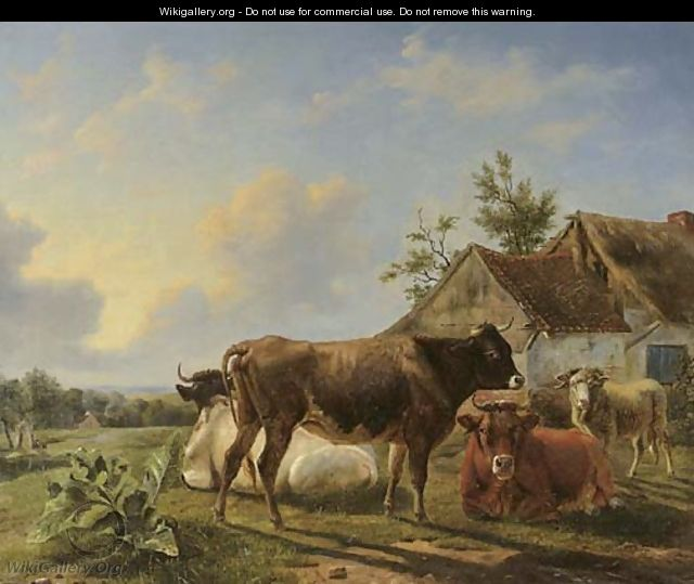 Cattle in a meadow by a farm - Louis Marie Dominique Romain Robbe
