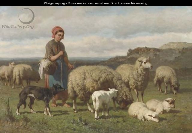 A young shepherdess - Louis Marie Dominique Romain Robbe