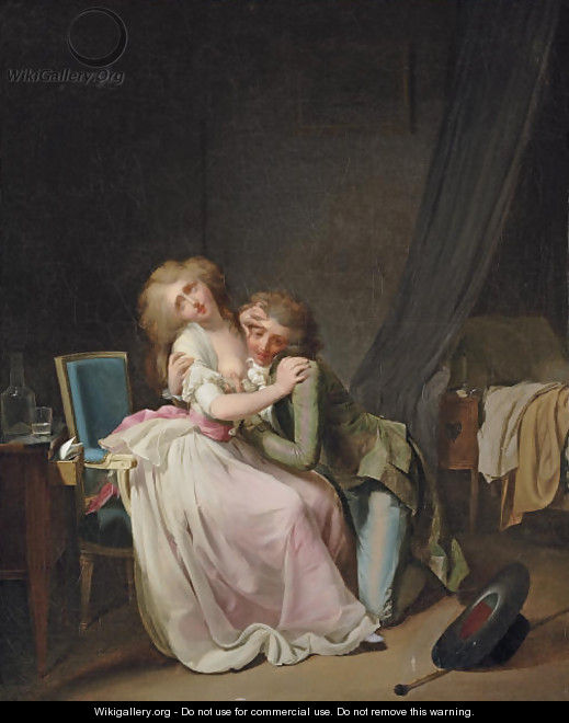 La Lutte galante (or aja ira) An amorous couple in an interior - Louis Léopold Boilly