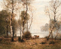 A wooded river landscape - Louis-Aime Japy