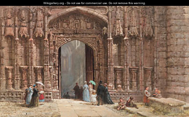 Figures outside the west door of Chester Cathedral - Louise Rayner